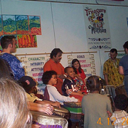 Children drum with Khakatay celebrating Black History
